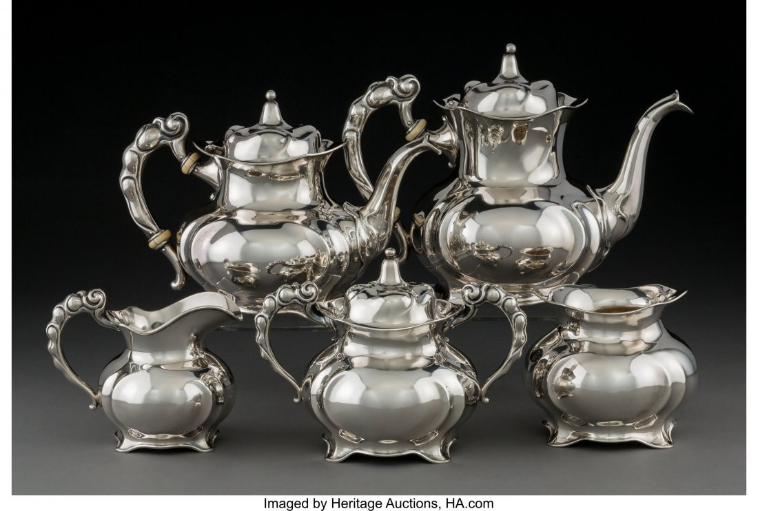 74173: A Five-Piece International Silver Co. Silver Tea