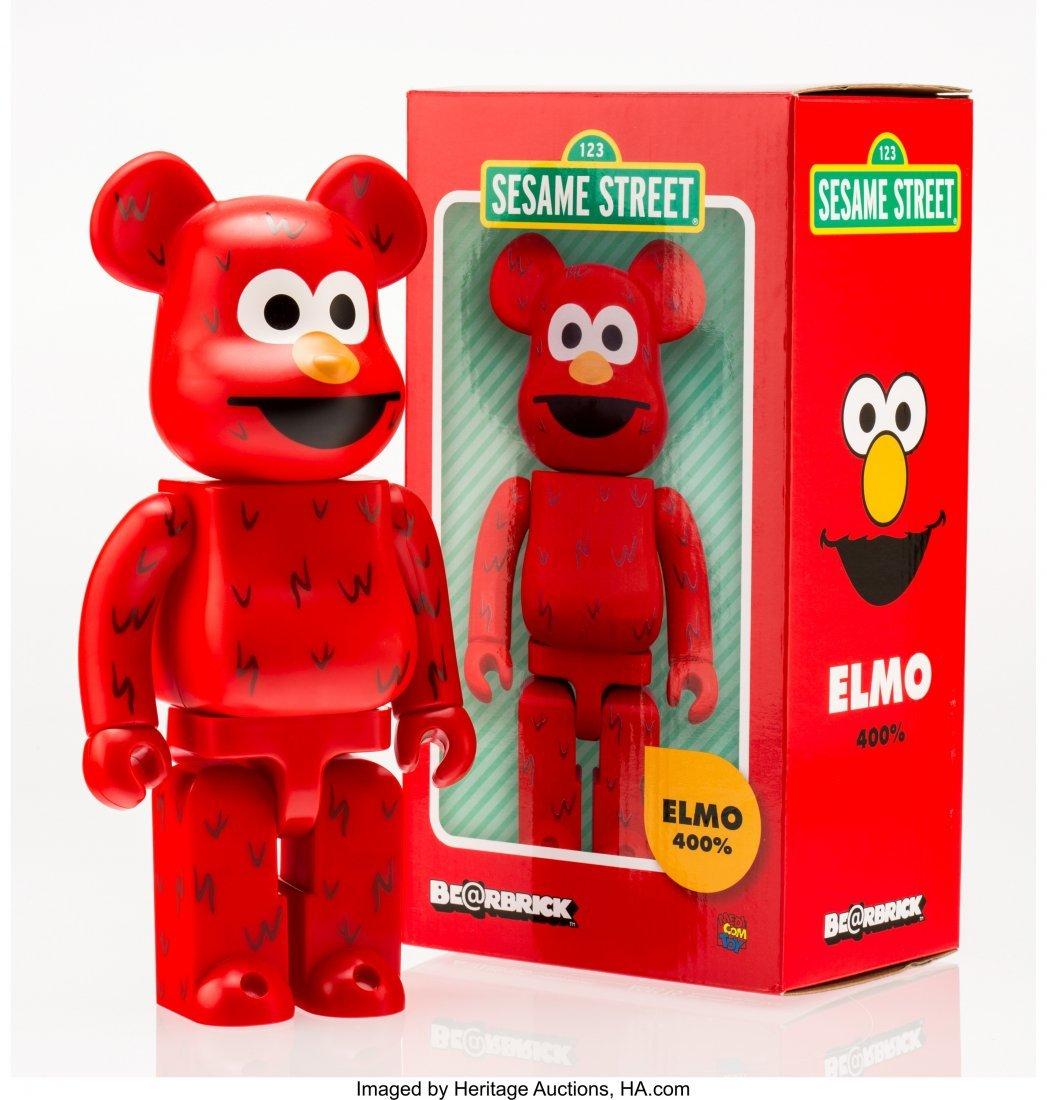 11224: BE@RBRICK X Sesame Street Elmo 400%, 2016 Painte