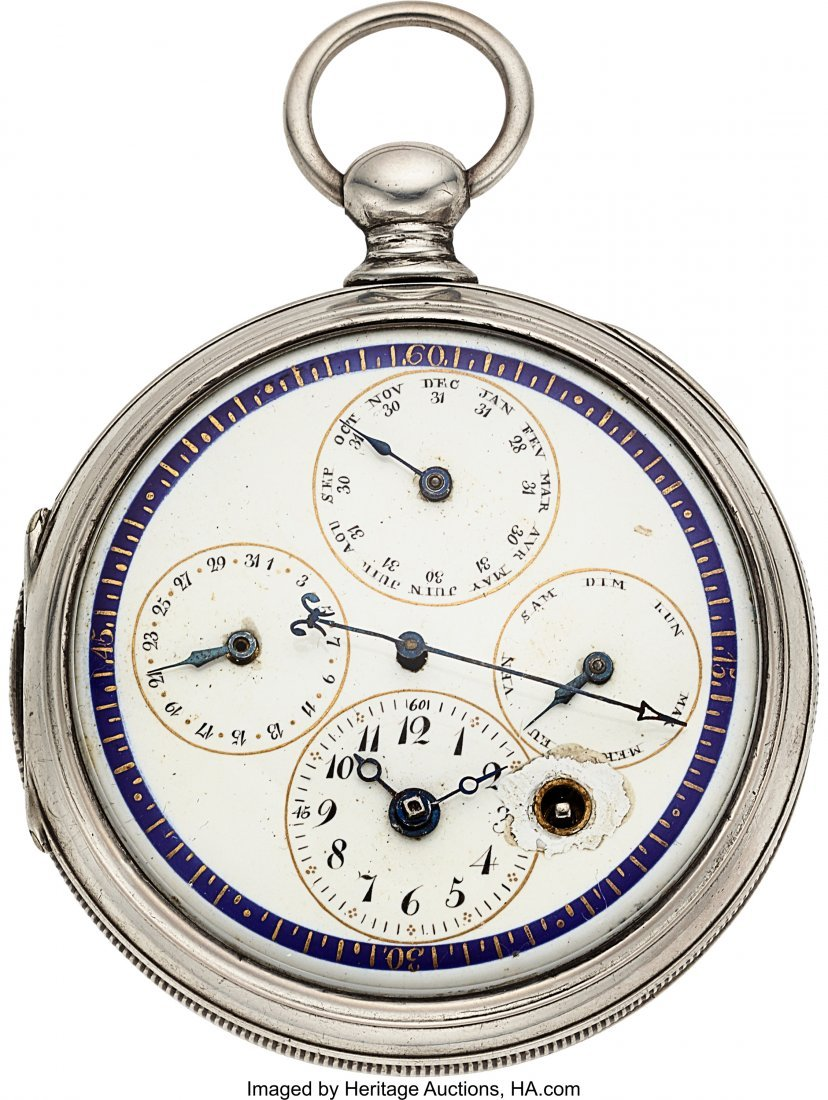 54347: Bordier Geneve Silver Center Seconds Verge Fusee