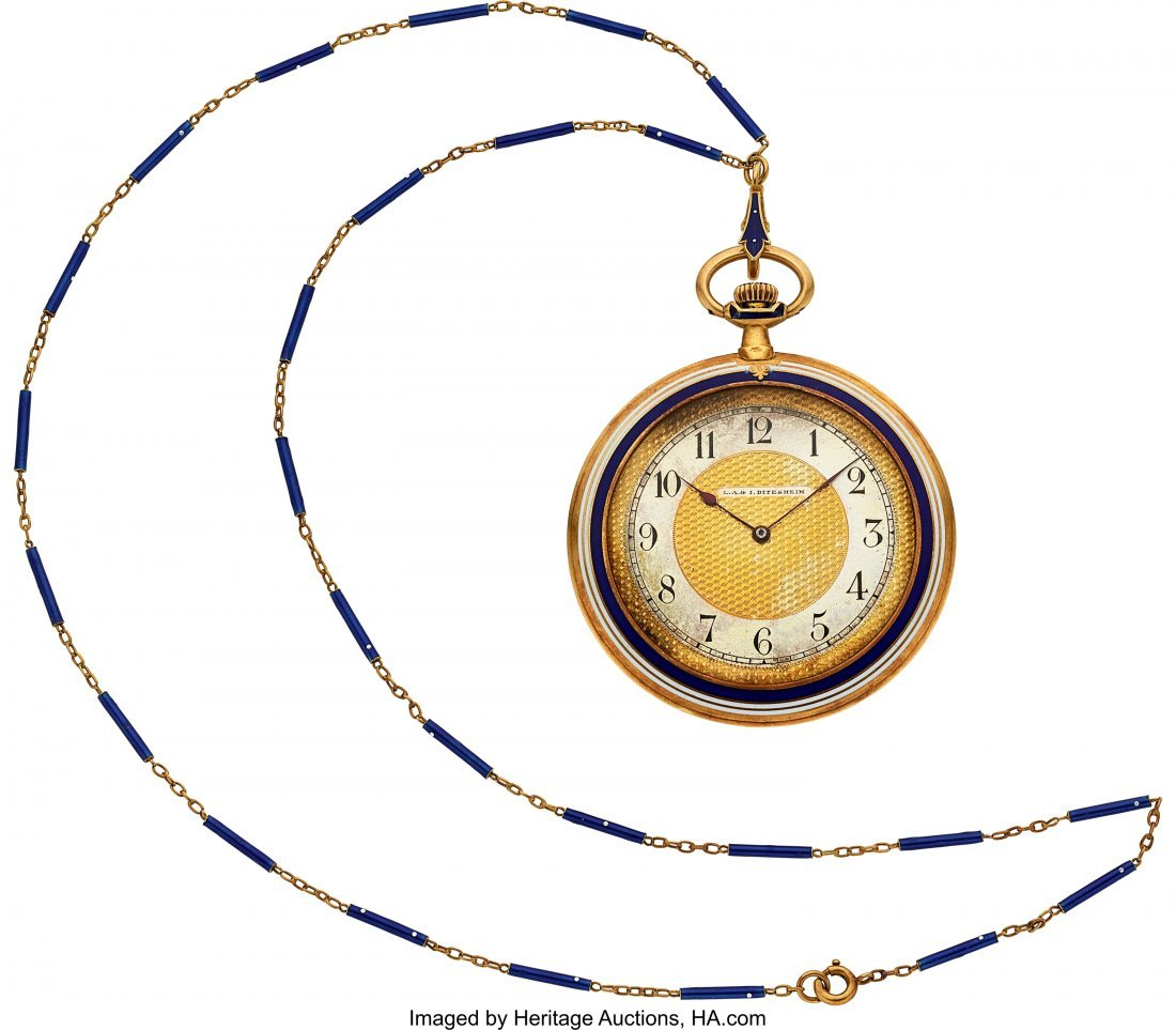 54358: Movado Gold & Enamel Watch & Chain Retailed By D