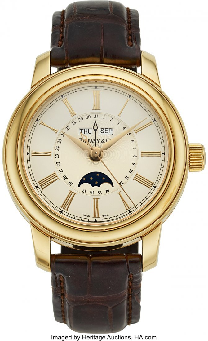 54100: Tiffany & Co. 18k Gold Automatic Moon Phase Cale
