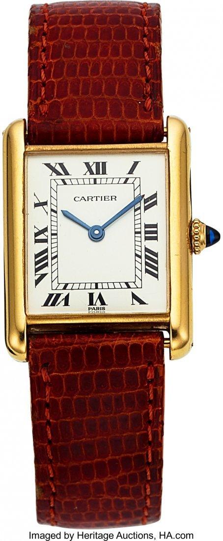 "54101: Cartier, 18k YG, Tank, Manual Wind, ""Paris"" Spid"
