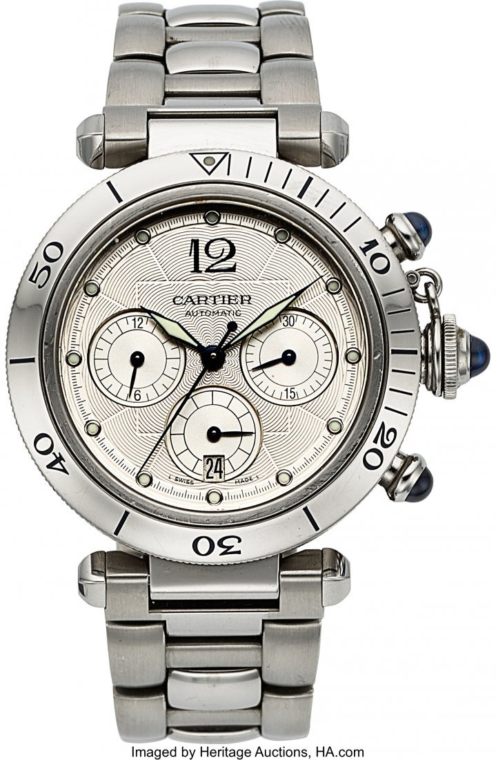 54102: Cartier Pasha Ref. W31030H3 Steel Automatic Chro