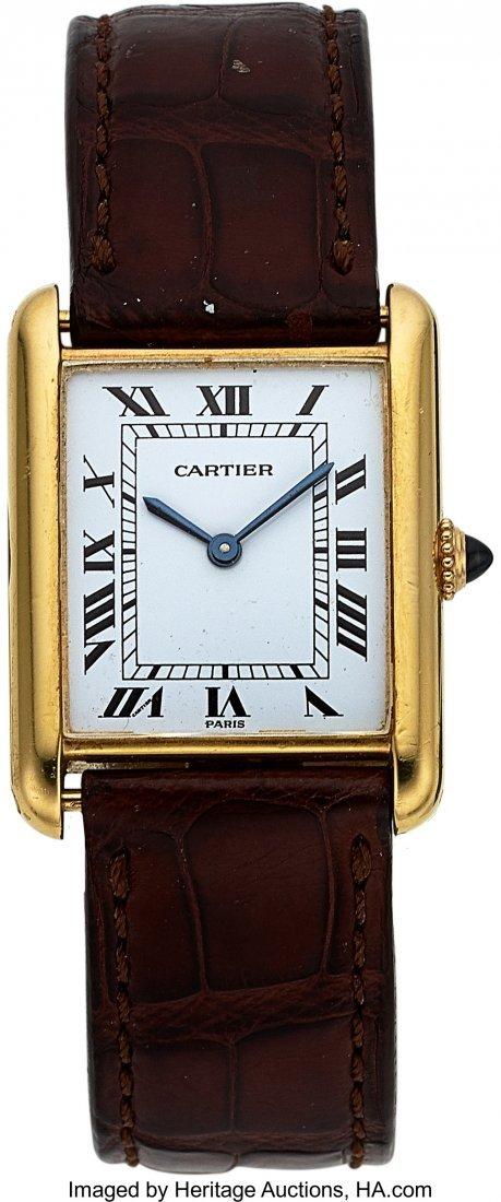 """54105: Cartier Tank, 18k YG, Manual Wind, """"Paris"""" Dial,"""
