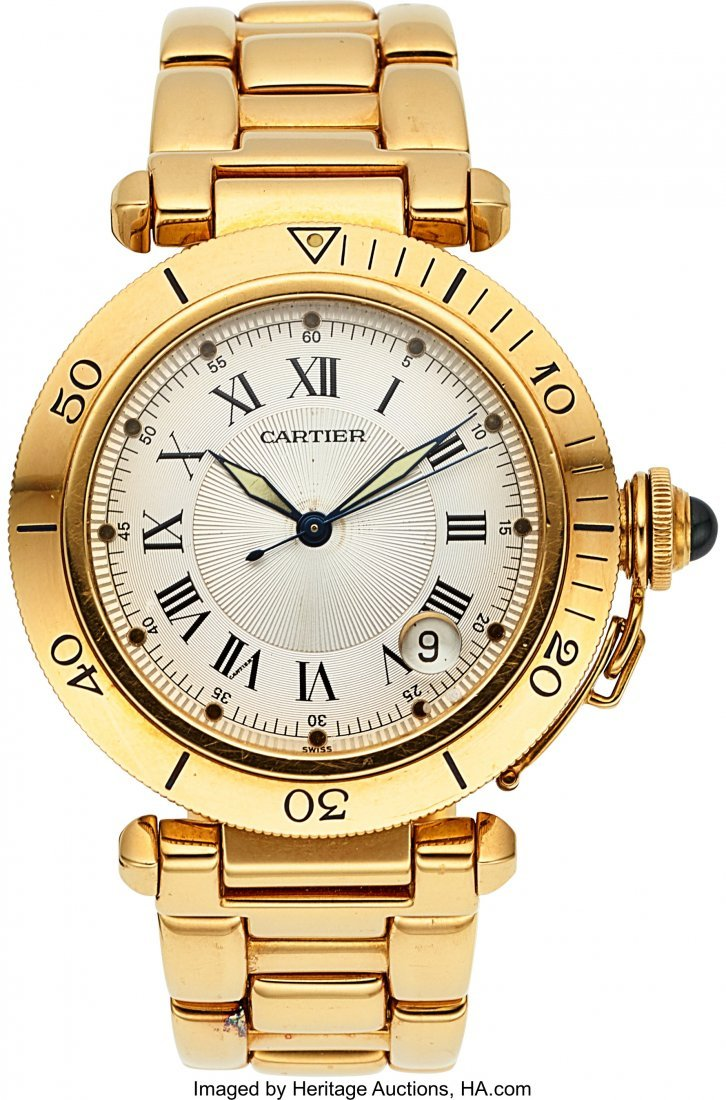 54196: Cartier Ref. 1020 Gent's Gold Pasha Automatic Wi