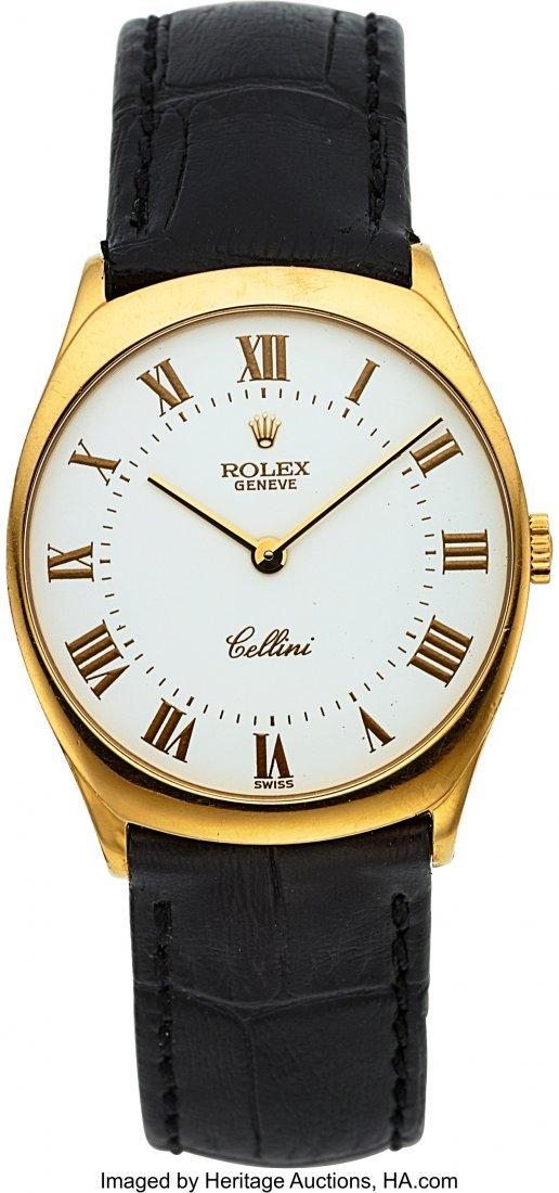 54021: Rolex Ref. 4133 Gold Cellini With Enamel Dial  C