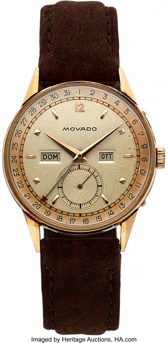 54107: Movado, Full Calendar, 18k Rose Gold Wristwatch,