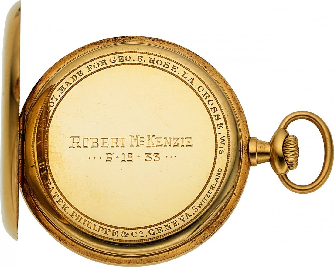 54375: Patek Philippe & Co. Gold Pocket Watch & Chain   - 4