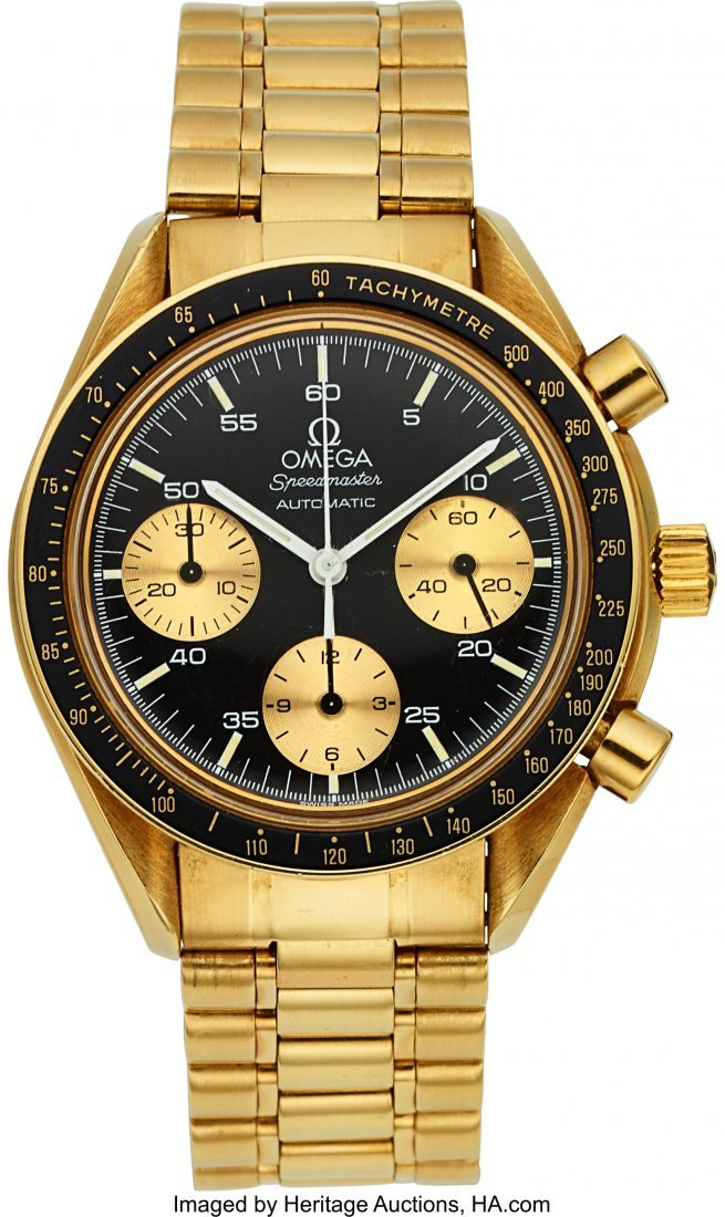 54205: Omega 18k Gold Speedmaster Automatic Chronograph