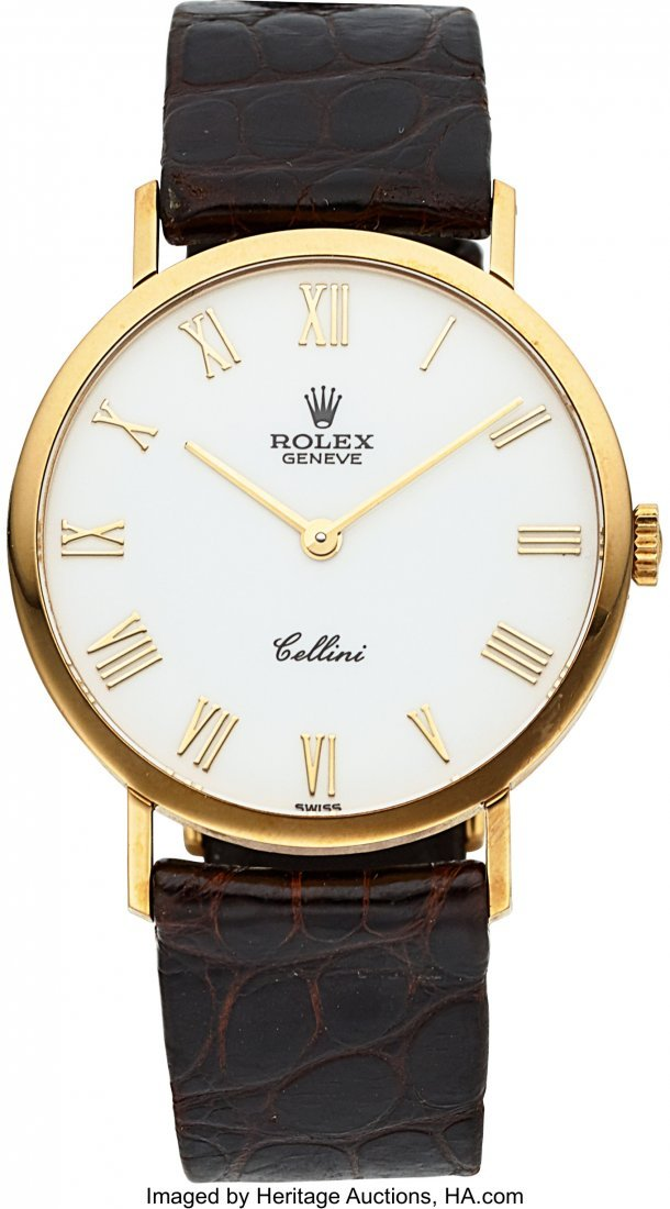 54028: Rolex Ref. 4112 Gent's Gold Cellini With Enamel