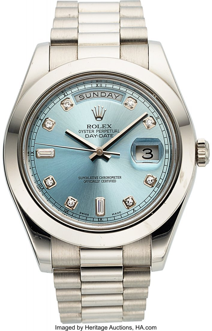 54218: Rolex Ref. 218206 Platinum & Diamond Day-Date II