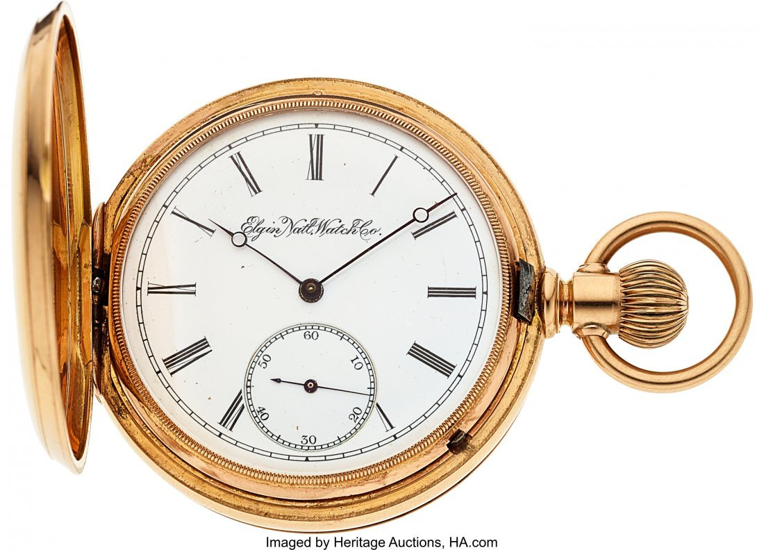 54391: Elgin Heavy 18k Gold Cased Convertible With Gold