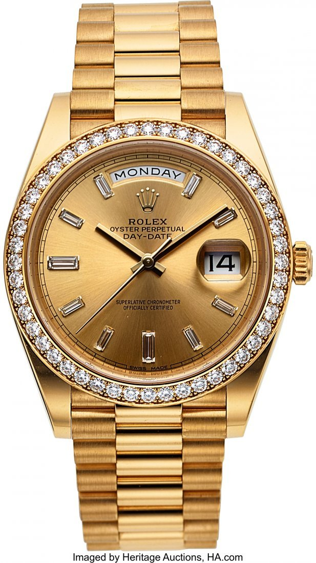 54222: Rolex Day-Date 40 Gold Oyster Perpetual Baguette