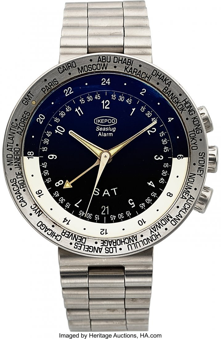54048: Ikepod Seaslug Alarm Steel Automatic World Time