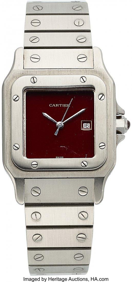 54052: Cartier Santos Galbee, Rare Burgundy Dial, Circa