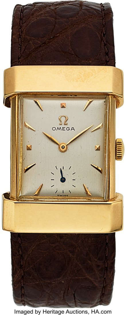 "54054: Omega 14k Gold ""Top Hat"" Circa 1944  Case: 14k y"