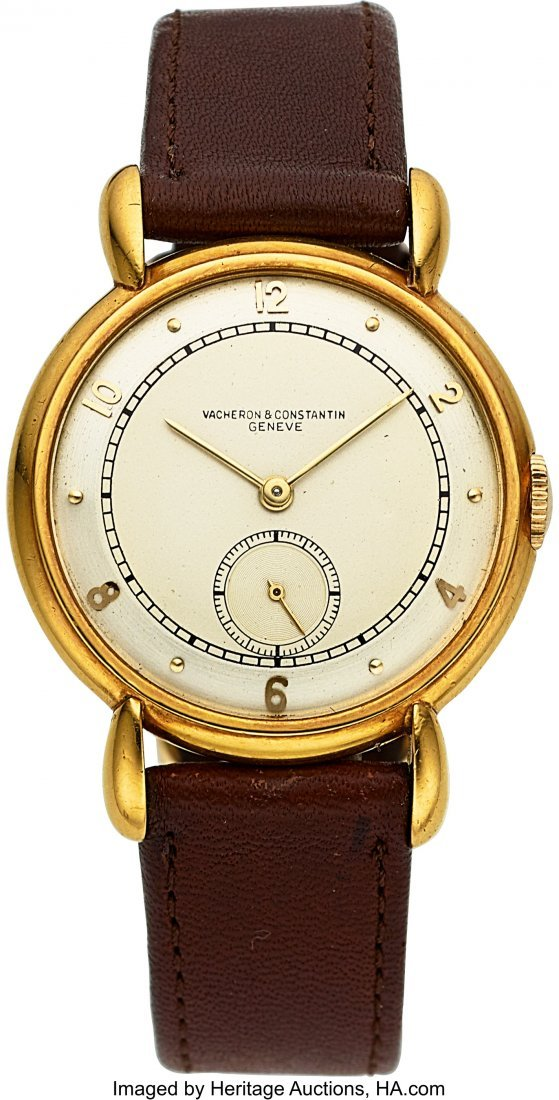 54055: Vacheron & Constantin Vintage Gold Watch With Te