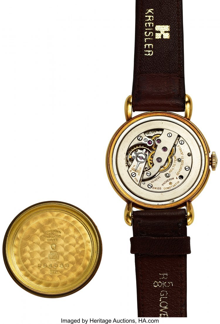 54055: Vacheron & Constantin Vintage Gold Watch With Te - 4