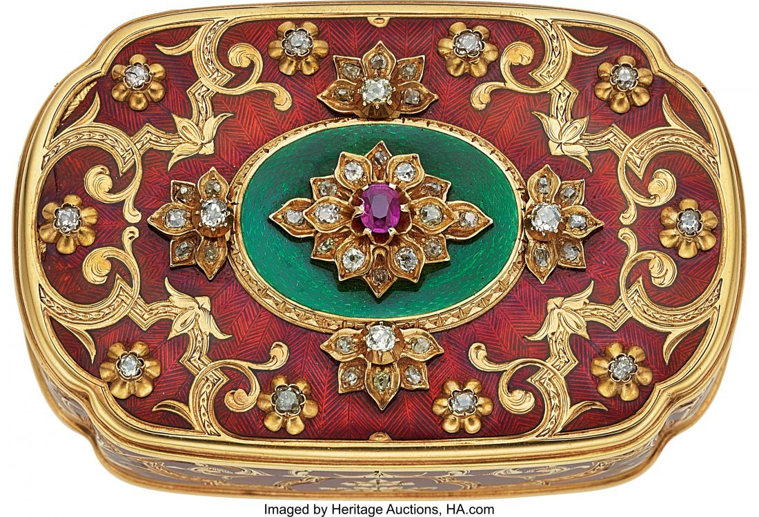 54313: French Very Fine Gold, Enamel, Diamond & Ruby Ta