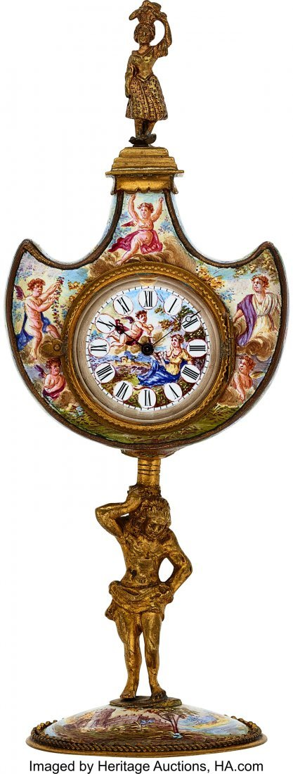 54314: Swiss Small Gilt & Viennese Enameled Clock  Case