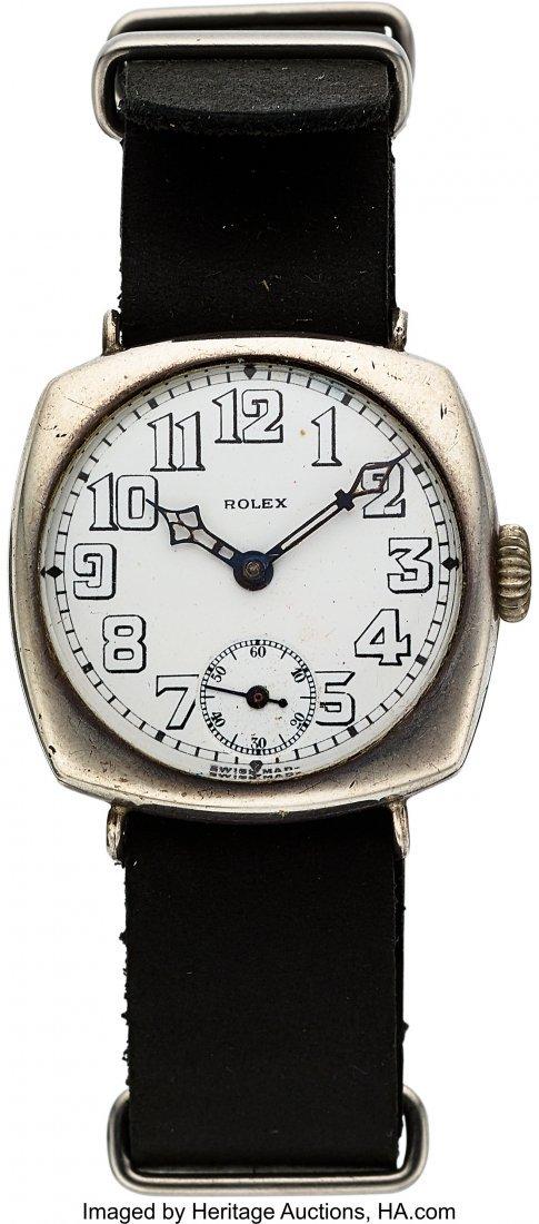 54147: Rolex Ref. 2801 Sterling Cushion Shaped Wristwat