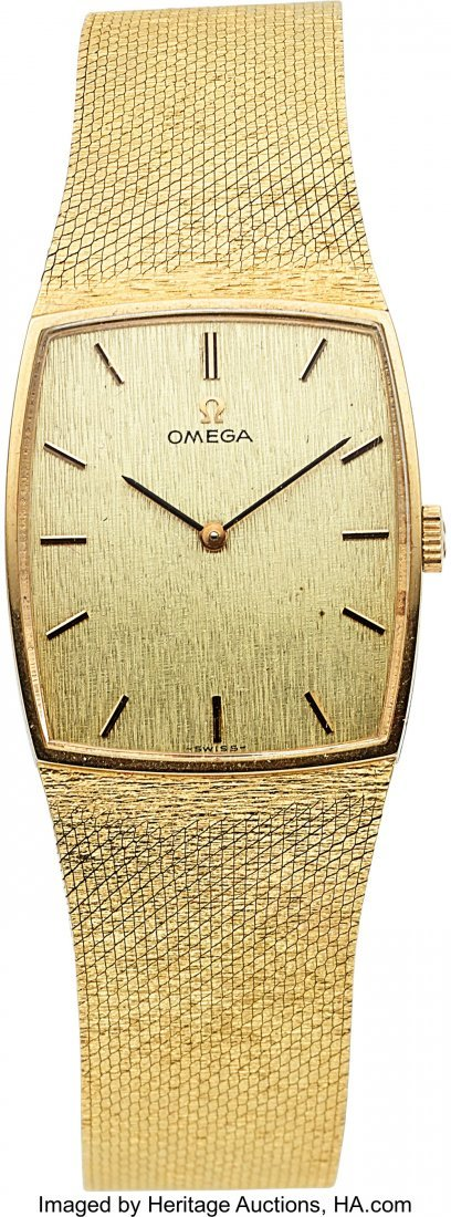 54072: Omega, 18k Gold Watch, Gift To Art Paul From Hug