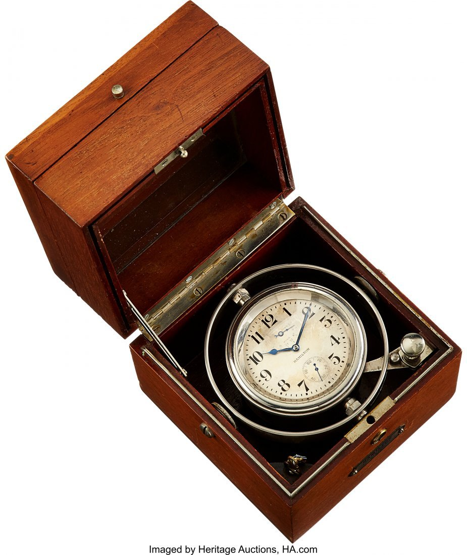 54433: Hamilton 36 Size Deck Watch With Wind Indicator
