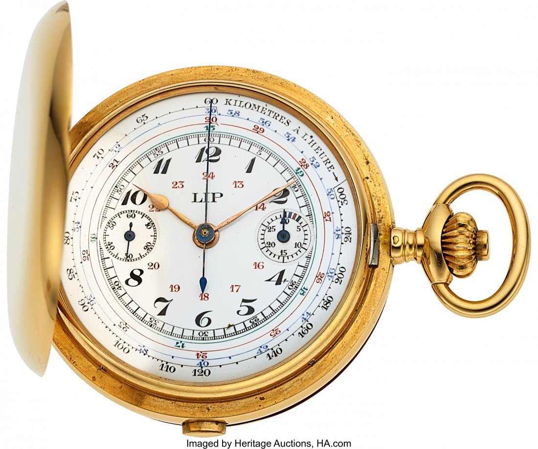 54340: LIP, France, Fine 18k Gold Chronograph With Unus