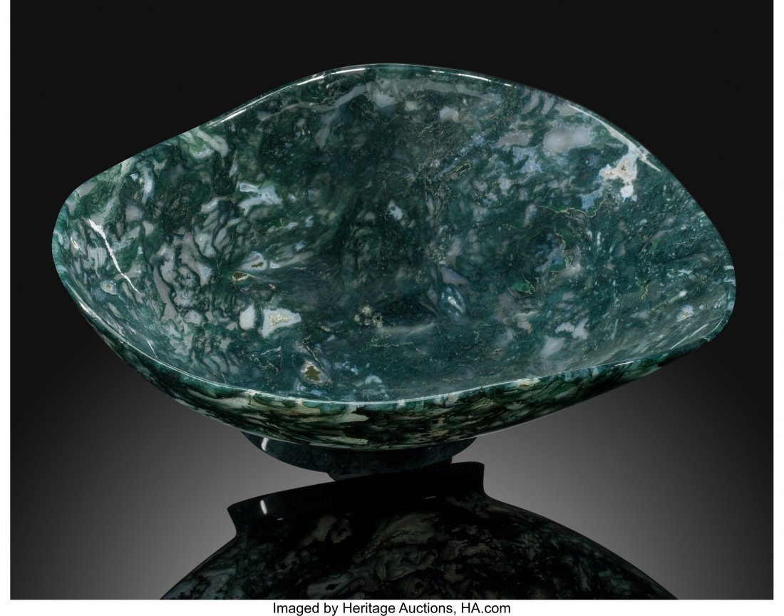72213: Moss Agate Bowl Stone Source: India Artist: Manf