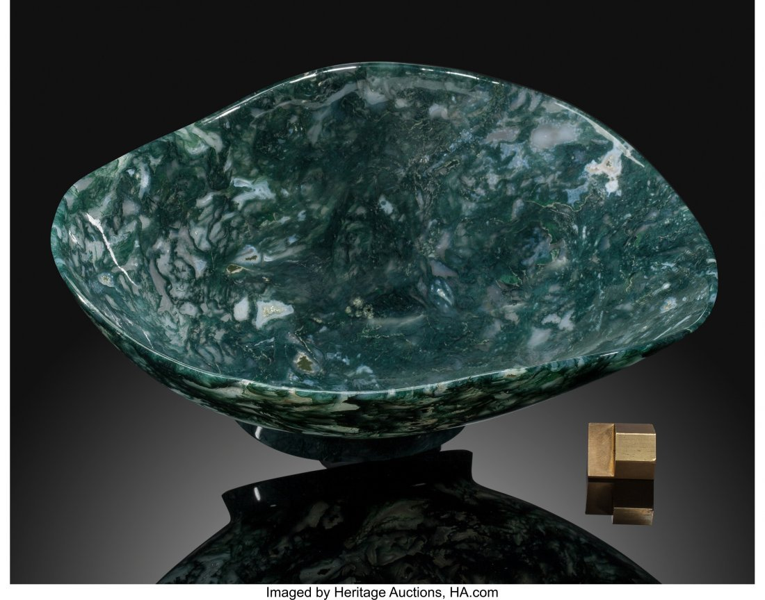 72213: Moss Agate Bowl Stone Source: India Artist: Manf - 2