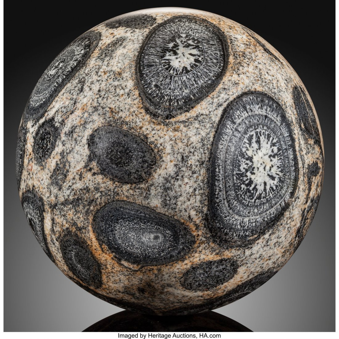 72069: Orbicular Granite Sphere Stone Source: Mount Mag