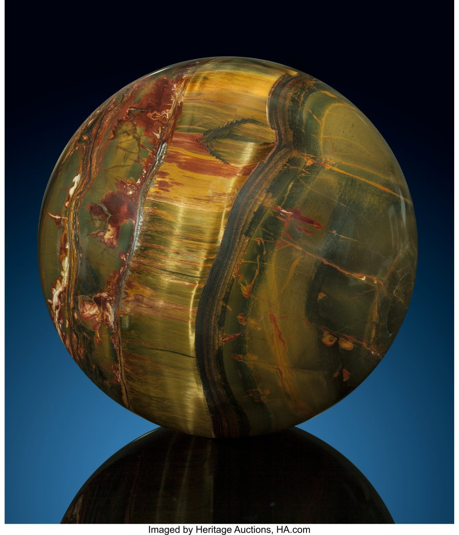 72075: Tiger's-Eye Sphere Stone Source: Mt. Brockman St