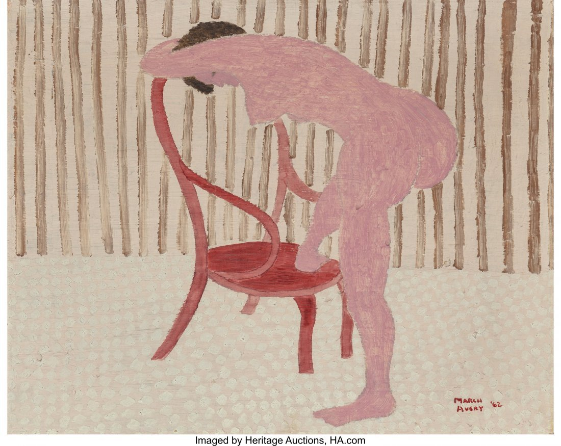 68137: March Avery (American, b. 1935) Nude with Chair,