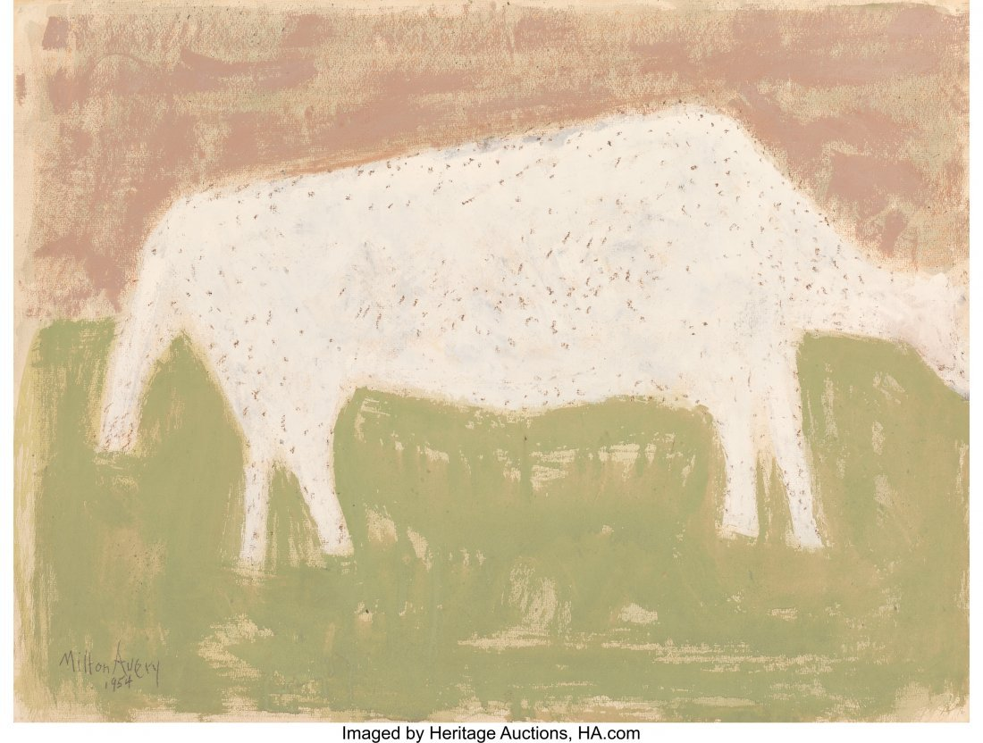 68140: Milton Avery (American, 1885-1965) Cow Grazing,