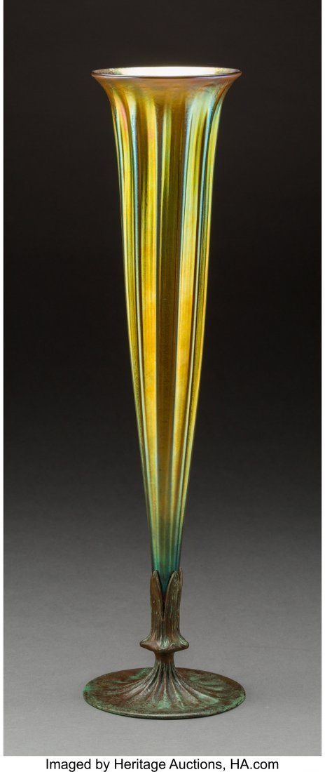 79236: Tiffany Furnaces-Style Glass and Bronze Trumpet  - 2