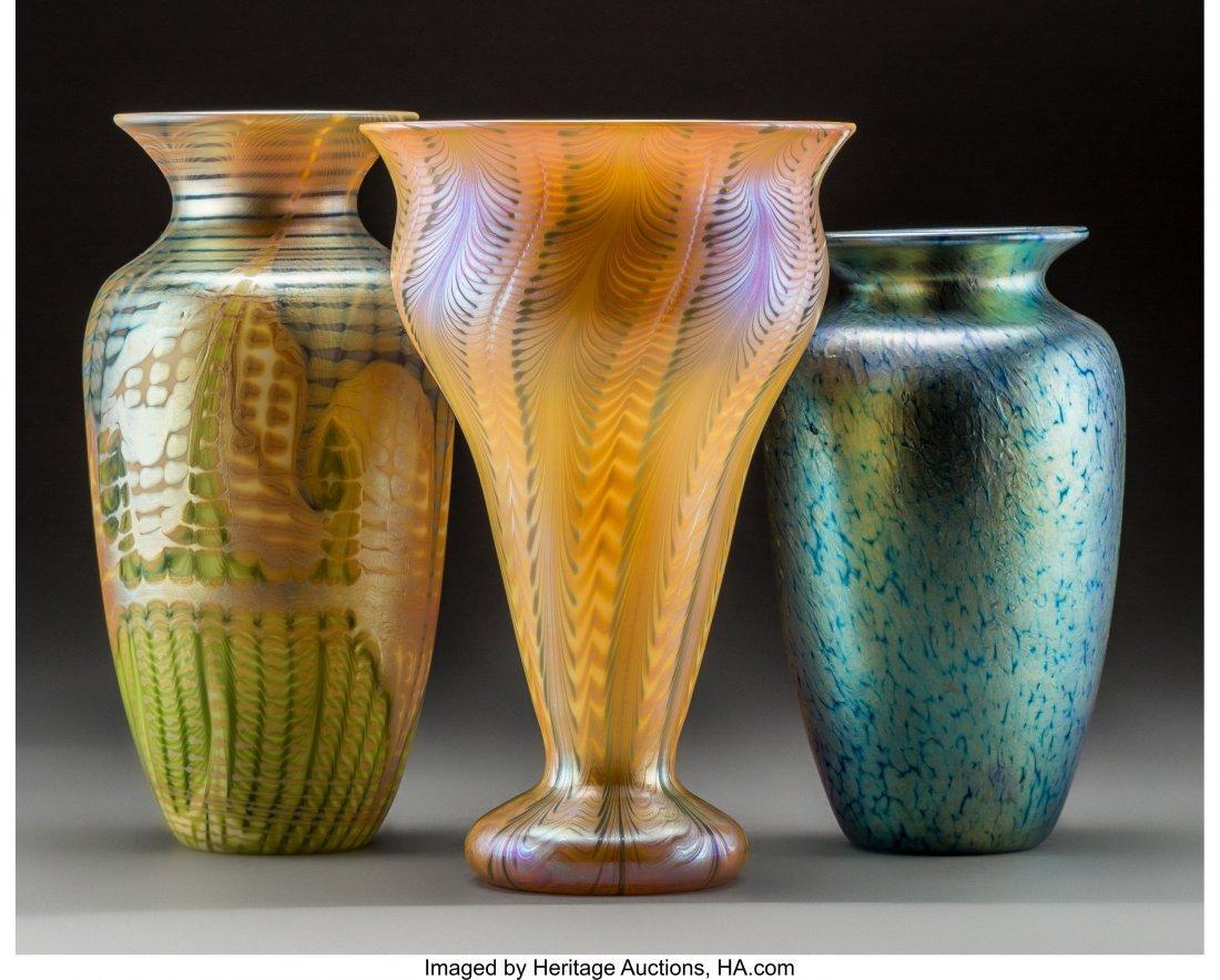 79239: Three American Decorated Iridescent Glass Vases