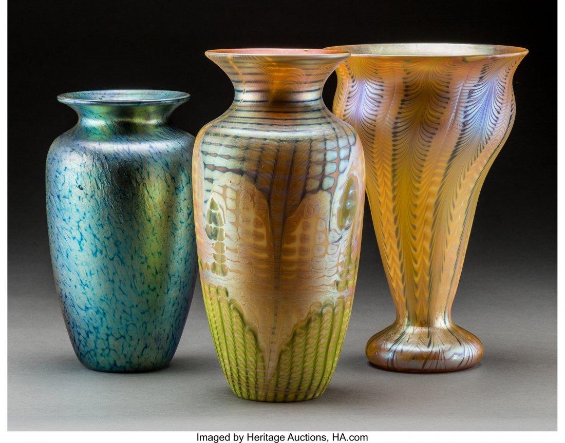 79239: Three American Decorated Iridescent Glass Vases  - 2