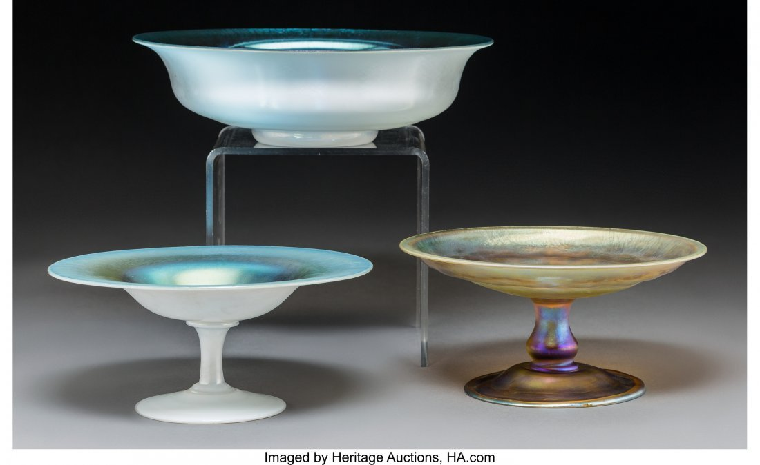79241: Tiffany Studios Favrile Glass Compote and Two St
