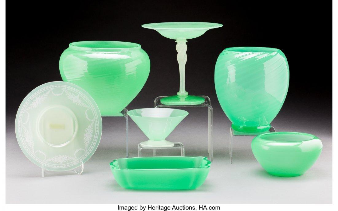 79075: Seven Steuben Jade and Calcite Glass Tablewares