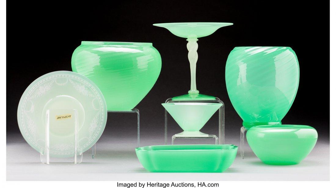 79075: Seven Steuben Jade and Calcite Glass Tablewares  - 2