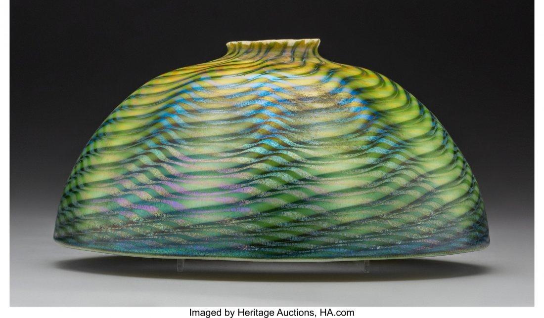 79009: Tiffany Studios Green Damascene Glass Lamp Shade