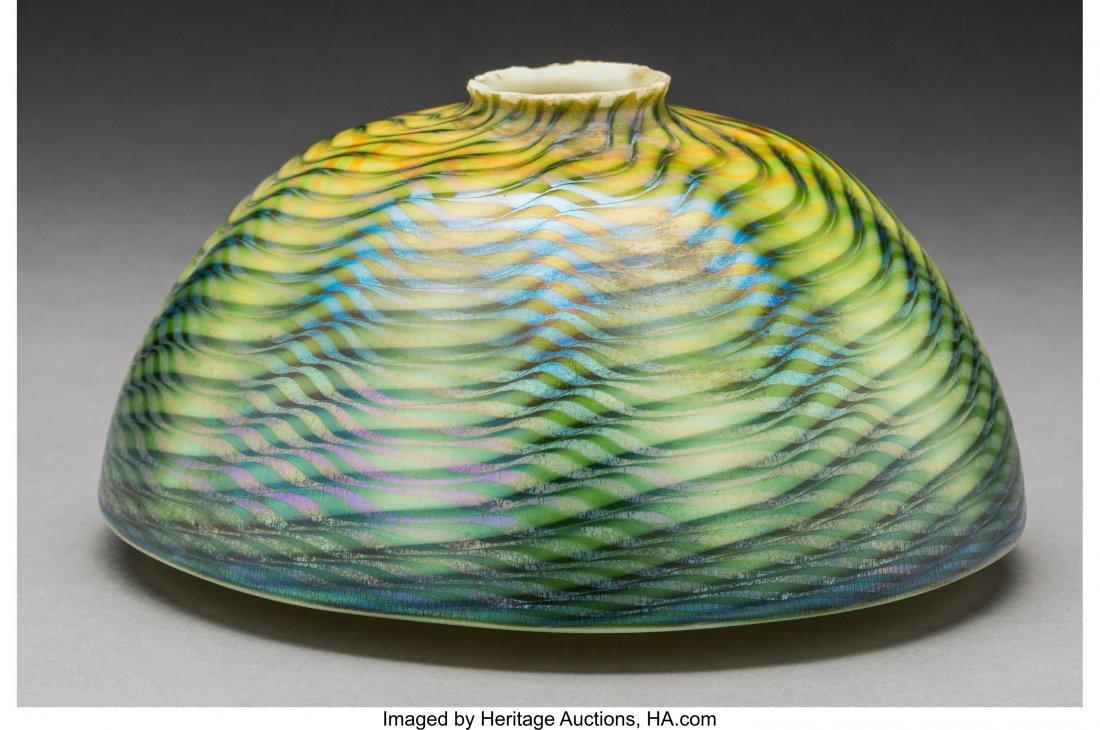 79009: Tiffany Studios Green Damascene Glass Lamp Shade - 2