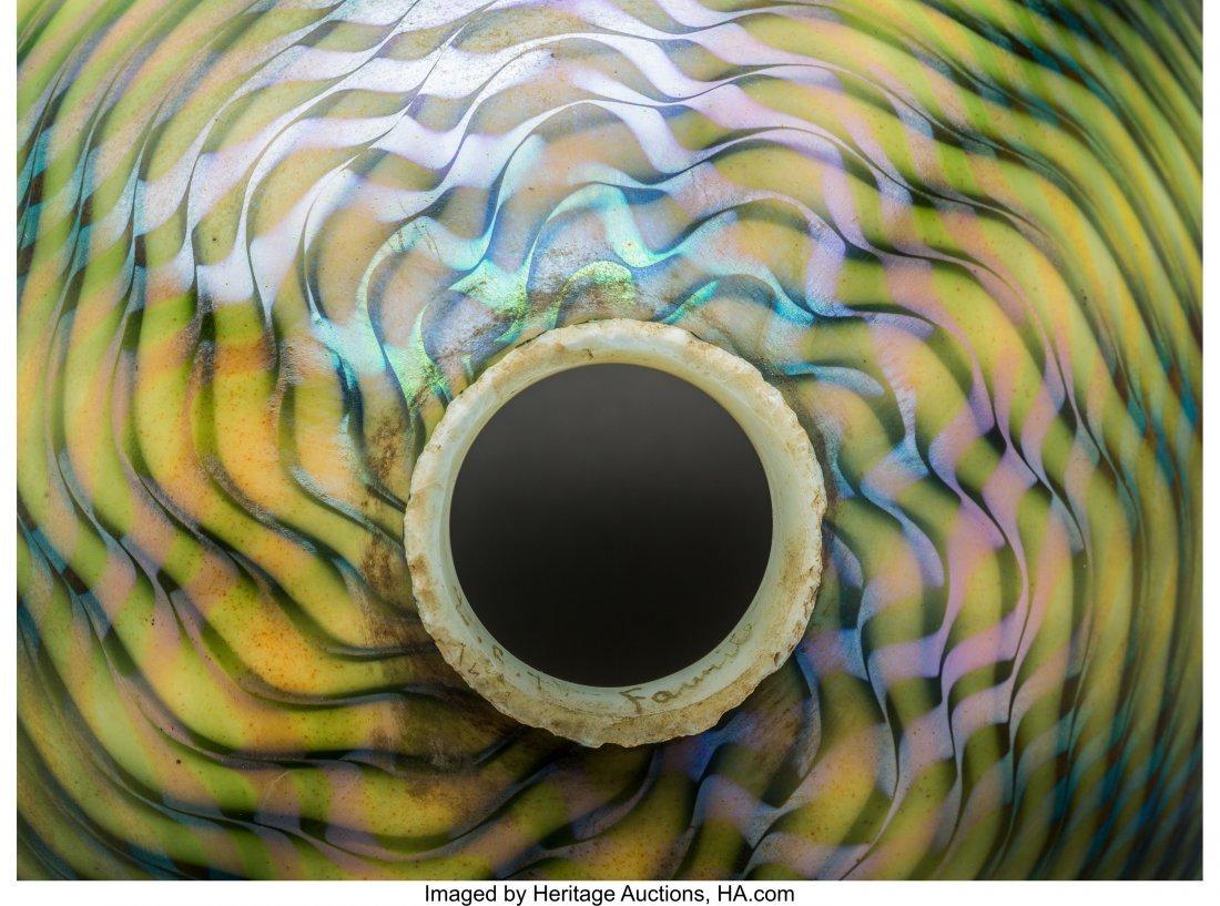 79009: Tiffany Studios Green Damascene Glass Lamp Shade - 3