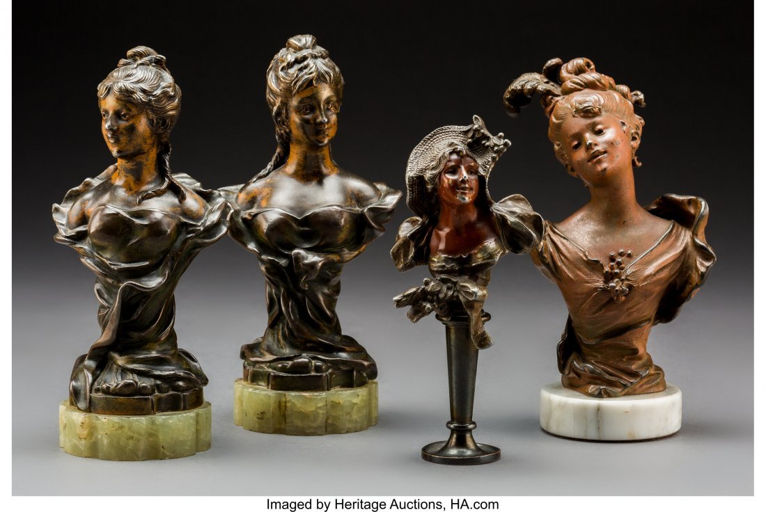 79244: Four Art Nouveau Patinated Bronze and Metal Bust