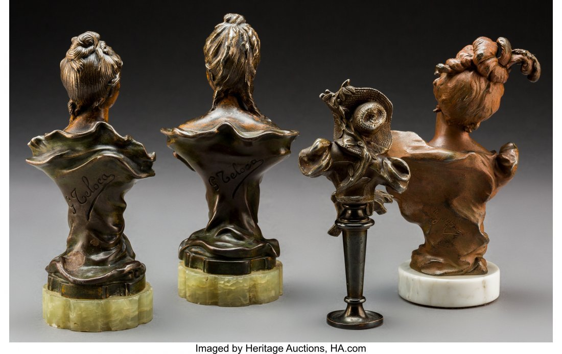 79244: Four Art Nouveau Patinated Bronze and Metal Bust - 2