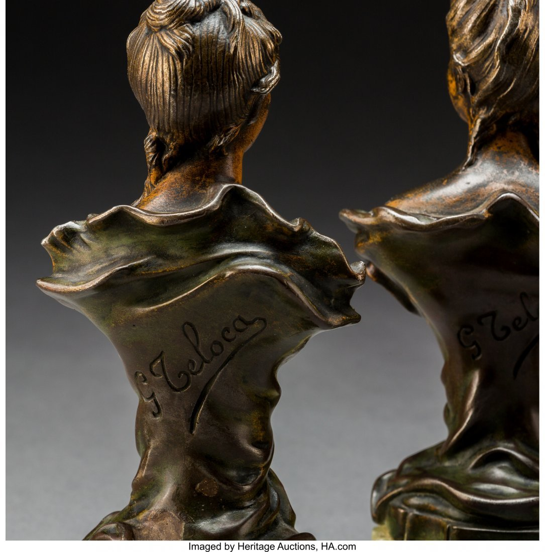 79244: Four Art Nouveau Patinated Bronze and Metal Bust - 3