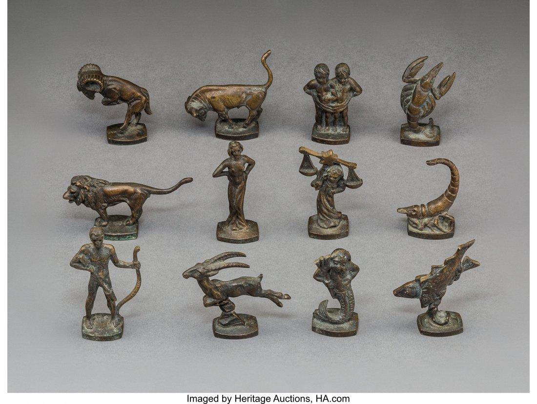 79245: Twelve Berliner Bronze Zodiac Signs 20th Century