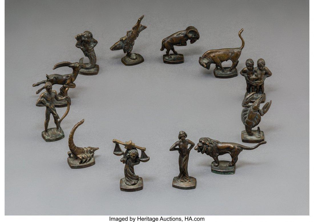 79245: Twelve Berliner Bronze Zodiac Signs 20th Century - 2