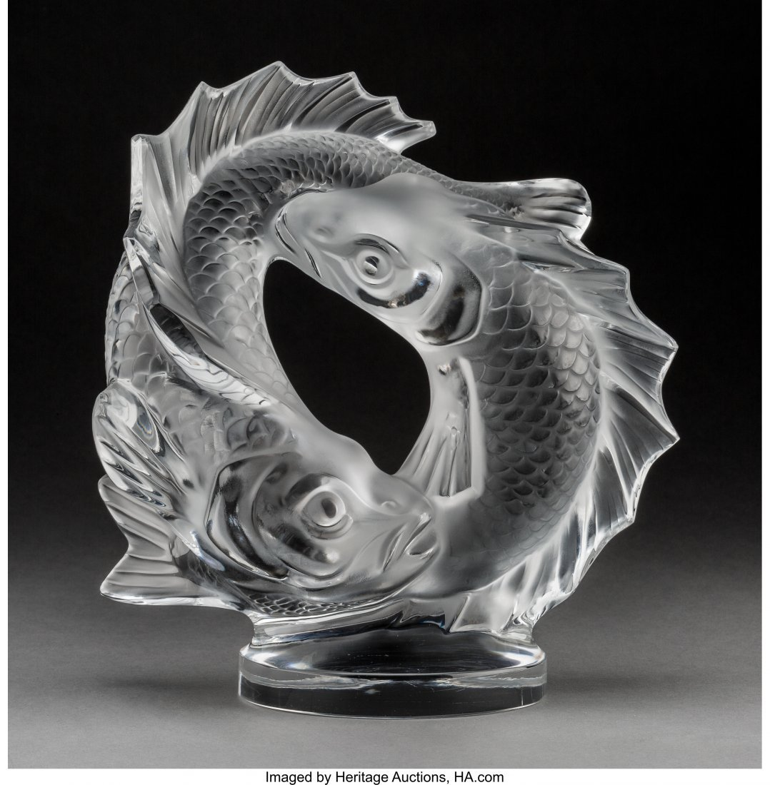 79220: Lalique Clear and Frosted Glass Deux Poissons  P