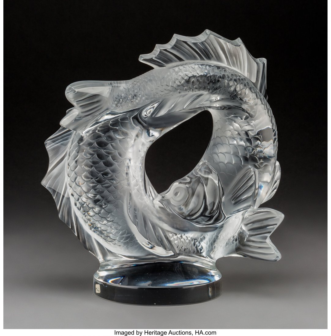 79220: Lalique Clear and Frosted Glass Deux Poissons  P - 2